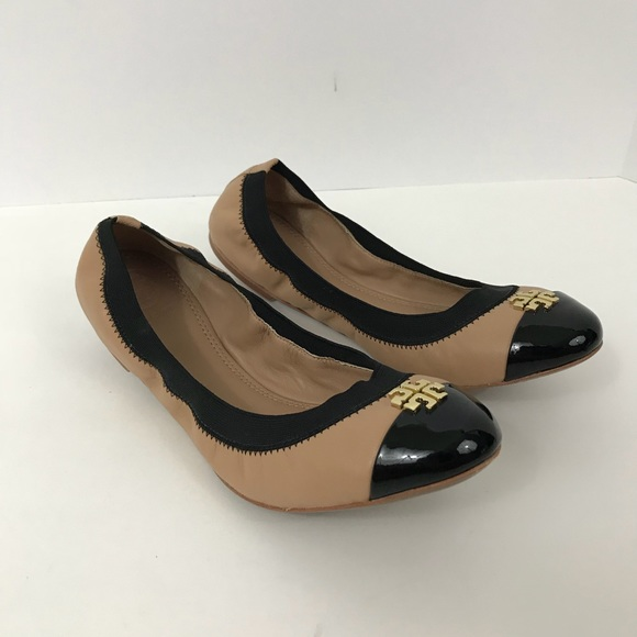 d8a6050b4a9 Tory burch Jolie flats leather nude black leather.  M 5a5919fe2ab8c57464c50bbe